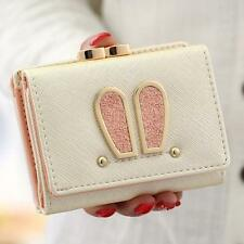 New COOFI Rabbit Ear Wallet Purse PU Leather Cute Girl Lady's Gift Iron clamps