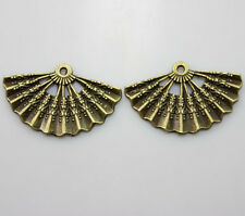 10/30/100pcs Retro style beautiful bronze Folding fan charm pendant  33x21 mm