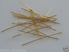 "Headpins 50mm 2"" gold plate GP 50mm 2"" hard head pins jewellery making findings"