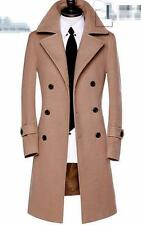 2016 Mens Overcoat Lapel Double Breasted Wool Blend Jacket Slim Long Trench Coat