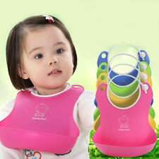 Cute Baby Infants Kids Silicone Bib Baby Lunch Waterproof Bibs Pick Rice Pocket