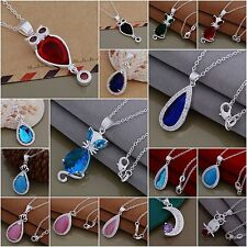 Wholesale 925Solid Sterling Silver Jewelry Pendant Necklace Chain Xmas Gift+Box