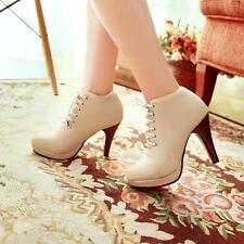 Women's Punk lace up high Kitten Heels pu leather ankle Boots dress pumps shoes