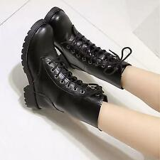 Chic Punk Pu Leather Lace Up Womens Combat Military Ankle Boots Shoes Size 5-10