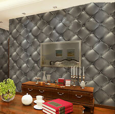 Luxury Skin Vinyl Headboard Faux Leather 3D Effect Wallpaper Brown/Grey/Gold