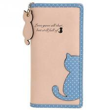 Hot Fashion Women Lady Cute Cat Clutch Long Purse Wallet Card Holder 4 Colors