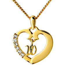 18k Gold Plated Heart Pendant With Initial - Name Necklace - Custom Gift