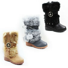 WOMENS LADIES WINTER FUR LINED WEDGE MID CALF YETI BOOTS BOOTEIS SHOES SIZE 3-8