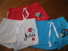 NWT Justice Girls Athletic Cotton Fleece Shorts RED Stars sz 12