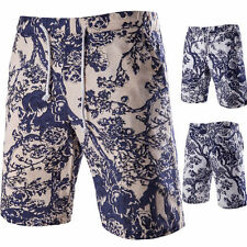 Summer Men's Casual Shorts Slim Fit White And Blue Cotton Linen Shorts Pants