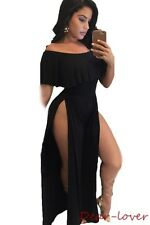Ruffle Off Shoulder High Side Slit Wide Leg Party Jumpsuits Women Sexy Rompers