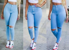 Sexy Women High Waist Denim Skinny Pants Hole Stretch Trousers Slim Pencil Jeans