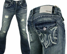 MEK Denim Jeans Men's OAXACA slim Boot cut med blue w/ flaps M1OAX4X4