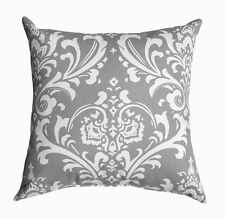Grey Throw Pillow, Ozborne Storm Grey and White Damask Pillow, Accent Pillow