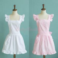Sleeveless Victorian Pinafore Apron Maid Smock Costume Ruffle Pockets White/Pink
