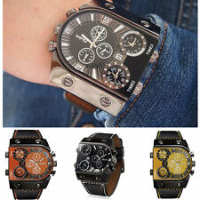 OULM Cool Military Army Leather Sports Mens 2 Time Quartz Wrist Watch 9315
