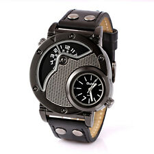 OULM 9591 Army Military Dual Time Dial Leather Band Mens Quartz Wrist Watch