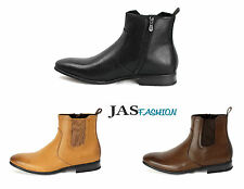 Mens Chelsea Ankle Boots Slip on + Zip Dress Formal Shoes Size UK 6 7 8 9 10 11