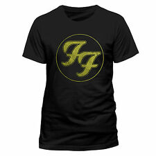 Foo Fighters T Shirt Logo in Gold Circle Official Black Mens NEW Dave Grohl Tee