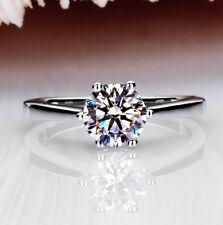 18K White Gold GP Austrian Crystal Lady Bridal Engagement diamond Ring R200a