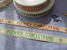 Printed Merry christmas herringbone ribbon choose red or green 15mm per 2 metres