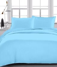 Soft 100% Organic Cotton Sky Blue Solid Fitted Bed Sheet With 2 Pillow Case