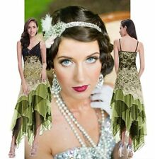 New 1920s gatsby vintage flapper lace sequin Maxi black green party dress