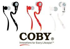 COBY CVE-103 Tangle Free Flat Cable REFLEX Stereo EARBUDS headphones Microphone