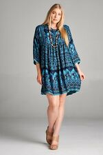Cute Plus Size Teal Multi Color BoHo Gypsie Mini Dress Tunic 1X, 2X, 3X-New!