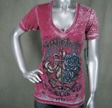 AFFLICTION women's v-neck T-shirt  Olde London burnout dirty red AW5757