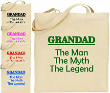 Grandad The Man Myth Legend Large Cotton Tote Shopping Bag Funny Gift Xmas Dad