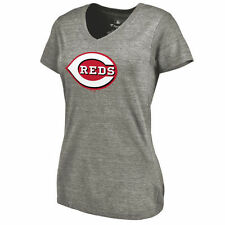 Cincinnati Reds Women's Ash Primary Logo Tri-Blend V-Neck T-Shirt