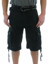 New men Mo7 Most Official Seven Mens Belted Cargo Shorts BLACK/GRAY/BRICK/White