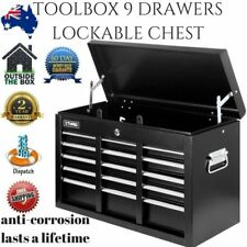 9 Drawer Mechanic Tool Box Chest Trolley Lockable Metal Toolbox Storage Case New