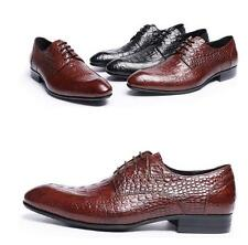 Formal Men's genuine leather wedding wing tip cowhide oxfords pointy dress shoes