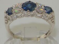 English Hallmarked Solid 925 Sterling Silver Natural Blue Sapphire Opal Ring