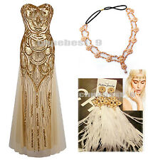 Ladies 1920's Flapper Long Prom Dress Maxi Costume Summer Cocktail Evening Party
