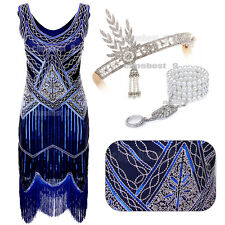 Vintage 1920s Flapper Dress Gatsby 20s Style Sequin Tassels Dresses UK Size 4-18