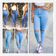 Sexy Women Denim Skinny Pants High Waist Stretch Jeans Slim Pencil Trousers