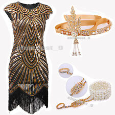 Sequin Beaded 1920s Flapper Dress Vintage Costume Charleston Ladies Fancy Party