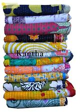 Indian Old Kantha Quilt Cotton Throw Bedspread Patch Work Gudari Vintage Decor