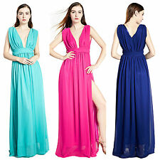 Women Chiffon Double V Neck Pleated Side Split Long Party Evening Formal Dresses