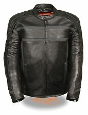 Men's Day & Night Reflective Band & Piping Leather Motorcycle Scooter Jacket