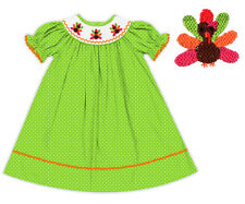 NWT Hand Smocked Thanksgiving Turkey Green Polka Dot Dress The Smocked Shop!
