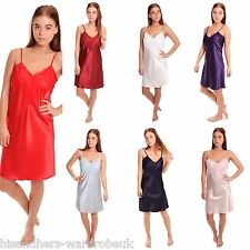 Women Girls Ladies Satin Short Nightdress with Deep Lace Detail Size 10 - 28 NEW