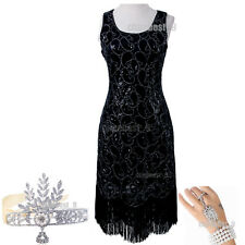 Vintage 1920s Flapper Dress Gatsby Deco Downton Abbey Sequin Fringe Plus Size 20