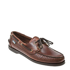 Sebago Mens Casual Shoes Shoes Schooner Brown Oiled Waxy Leather Boat Lace Up