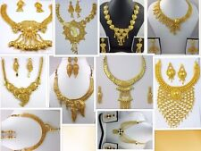 Indian Bollywood Ethnic Designer Gold Plated Necklace Earrings Jewellery Set