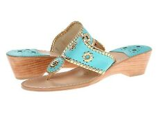 $148 New Jack Rogers Nantucket Caribbean Blue Gold Mid Wedge Sandal Sandals 5