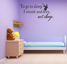 To Sleep Antlers Sheep Vinyl Wall Decal Sticker Wedding Bedroom Cabin Buck Hunt